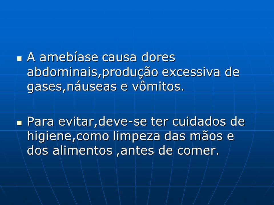A amebíase causa dores abdominais,produção excessiva de gases,náuseas e vômitos.