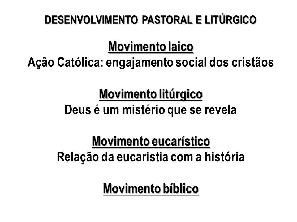 Ação Católica: engajamento social dos cristãos Movimento litúrgico