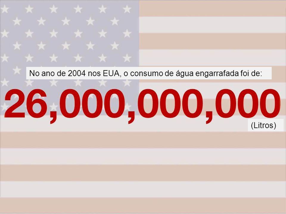 No ano de 2004 nos EUA, o consumo de água engarrafada foi de: