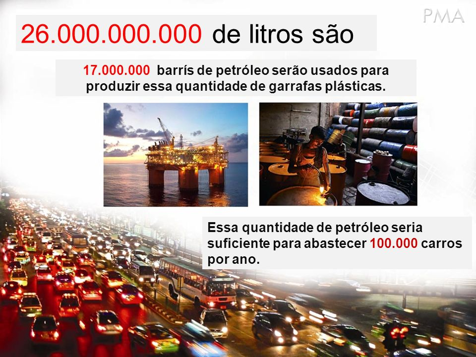 26.000.000.000 de litros são 17.000.000 barrís de petróleo serão usados para produzir essa quantidade de garrafas plásticas.