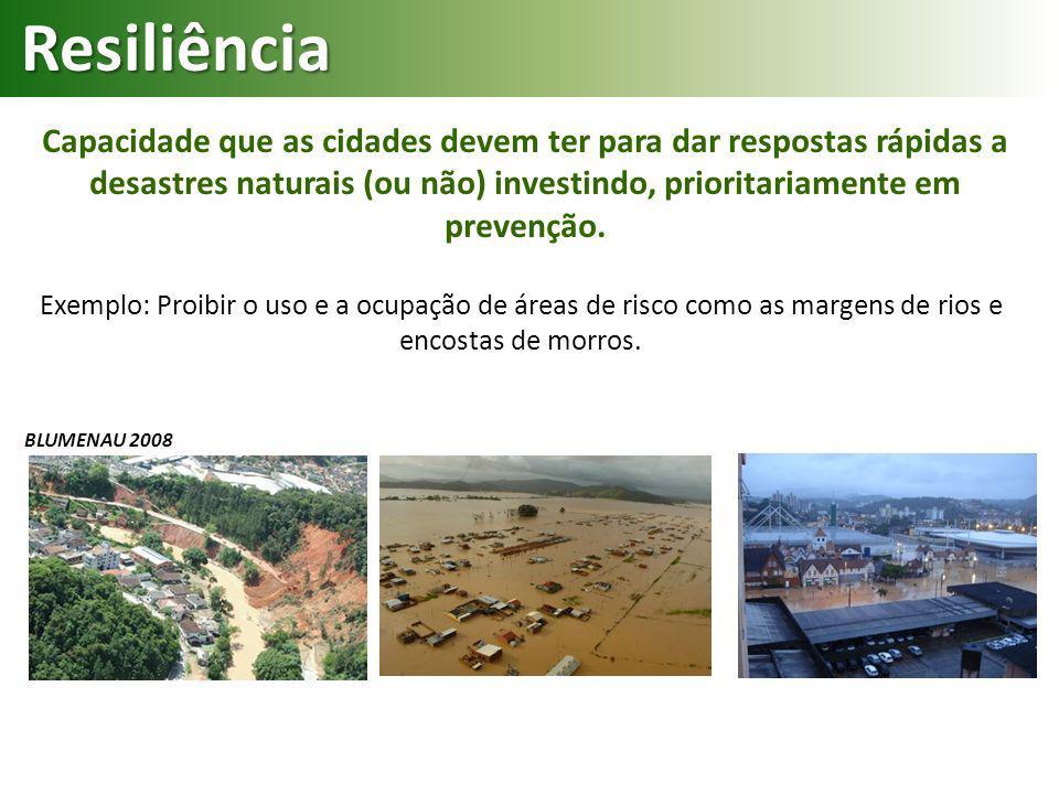 Resiliência Capacidade que as cidades devem ter para dar respostas rápidas a desastres naturais (ou não) investindo, prioritariamente em prevenção.