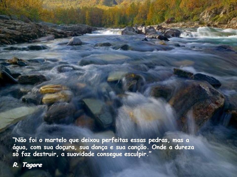 Não foi o martelo que deixou perfeitas essas pedras, mas a água, com sua doçura, sua dança e sua canção. Onde a dureza só faz destruir, a suavidade consegue esculpir.