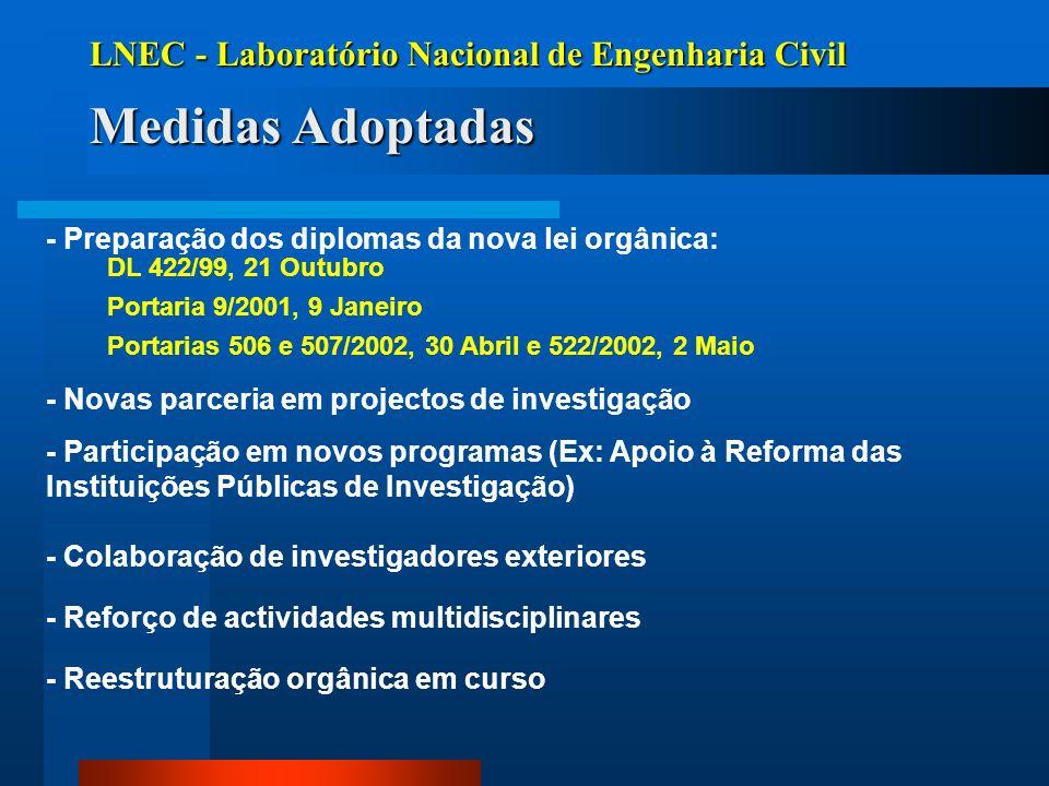 Medidas Adoptadas LNEC - Laboratório Nacional de Engenharia Civil