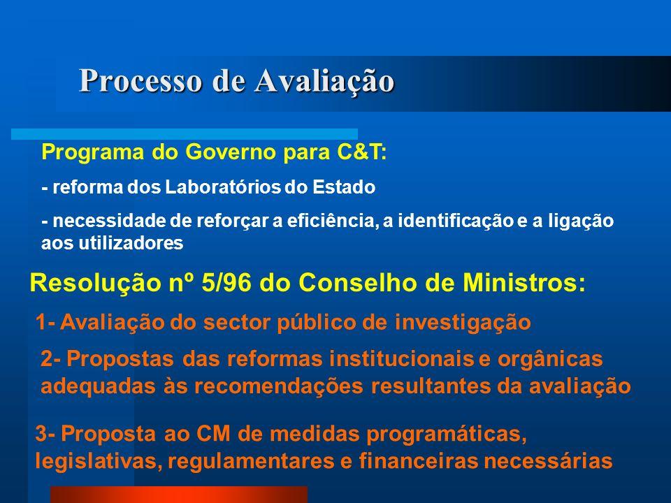 Processo de Avaliação Resolução nº 5/96 do Conselho de Ministros: