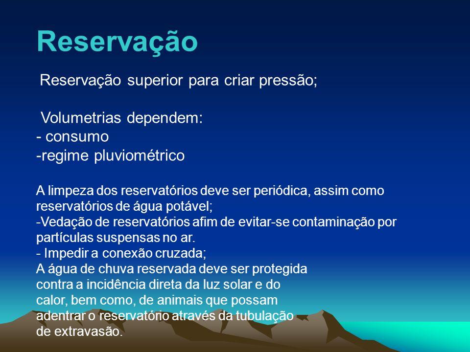 Reservação Volumetrias dependem: - consumo regime pluviométrico