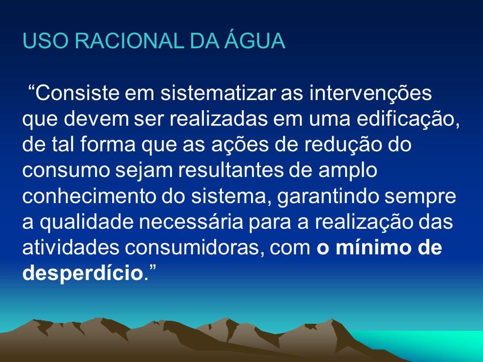 USO RACIONAL DA ÁGUA Consiste em sistematizar as intervenções. que devem ser realizadas em uma edificação,