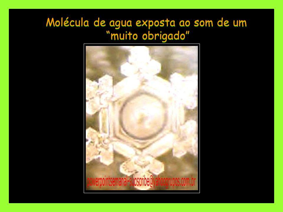 Molécula de agua exposta ao som de um