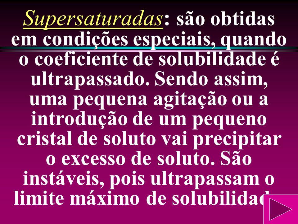 Supersaturadas: são obtidas em condições especiais, quando o coeficiente de solubilidade é ultrapassado.