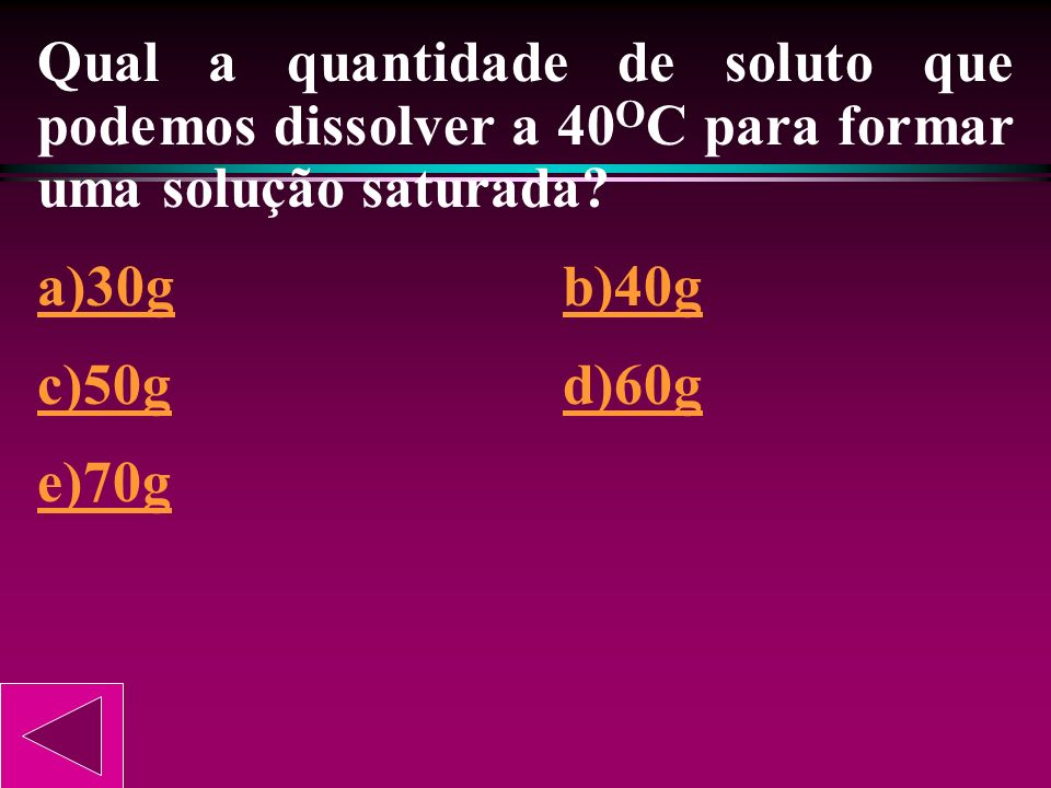 Qual a quantidade de soluto que podemos dissolver a 40OC para formar uma solução saturada
