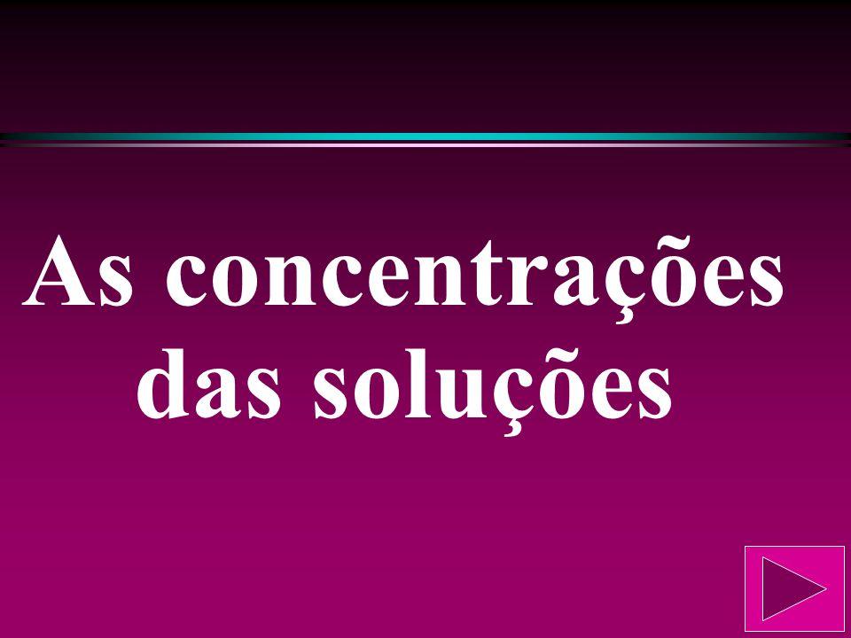 As concentrações das soluções