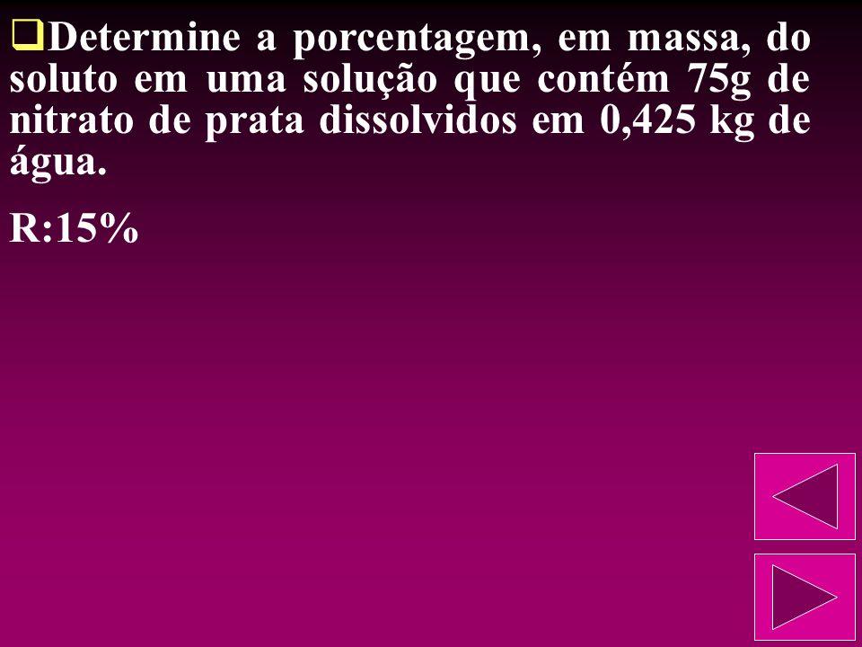 Determine a porcentagem, em massa, do soluto em uma solução que contém 75g de nitrato de prata dissolvidos em 0,425 kg de água.