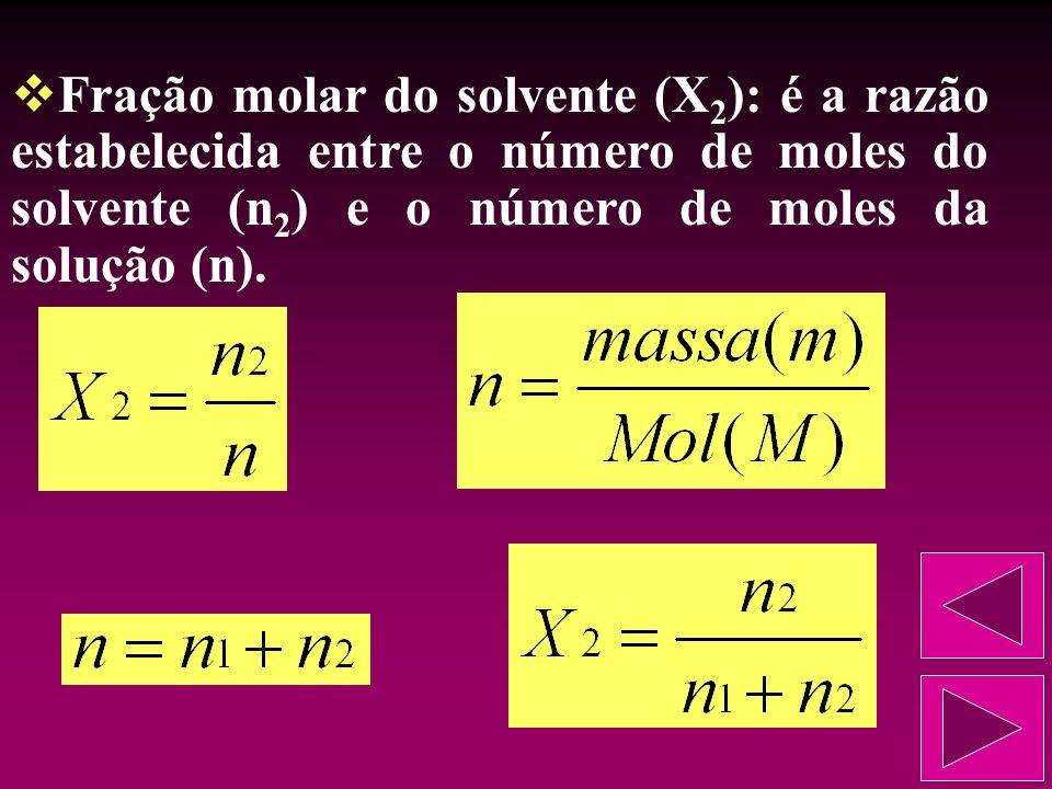 Fração molar do solvente (X2): é a razão estabelecida entre o número de moles do solvente (n2) e o número de moles da solução (n).