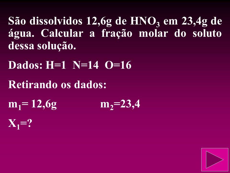 São dissolvidos 12,6g de HNO3 em 23,4g de água