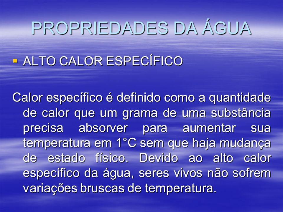 PROPRIEDADES DA ÁGUA ALTO CALOR ESPECÍFICO