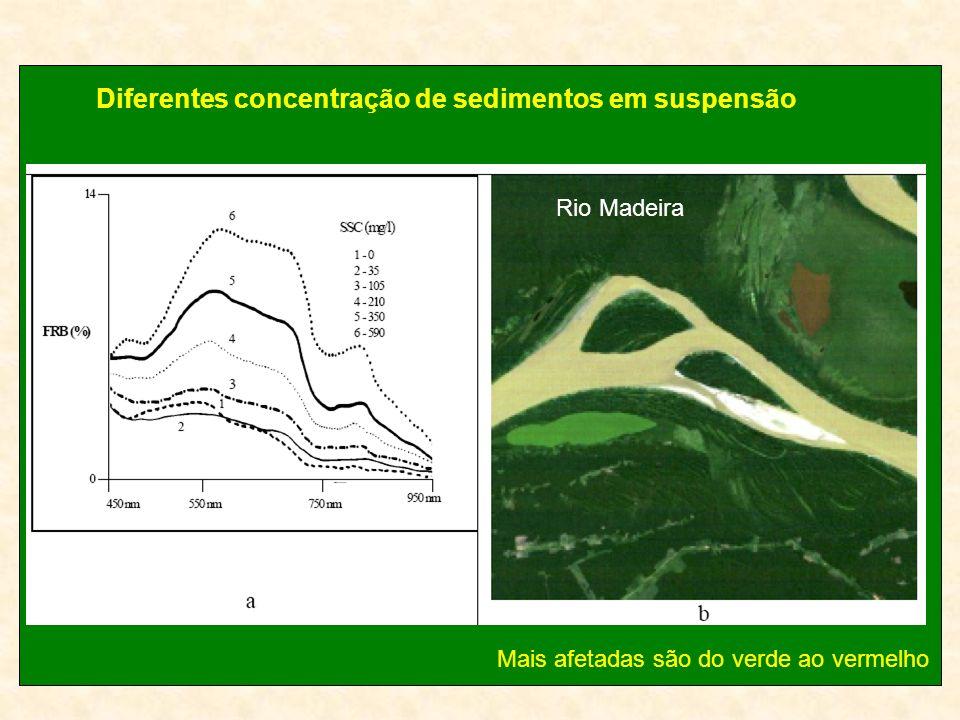 Diferentes concentração de sedimentos em suspensão