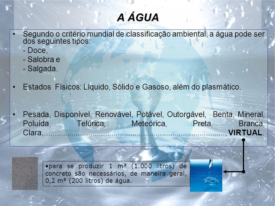 A ÁGUA Segundo o critério mundial de classificação ambiental, a água pode ser dos seguintes tipos: - Doce,