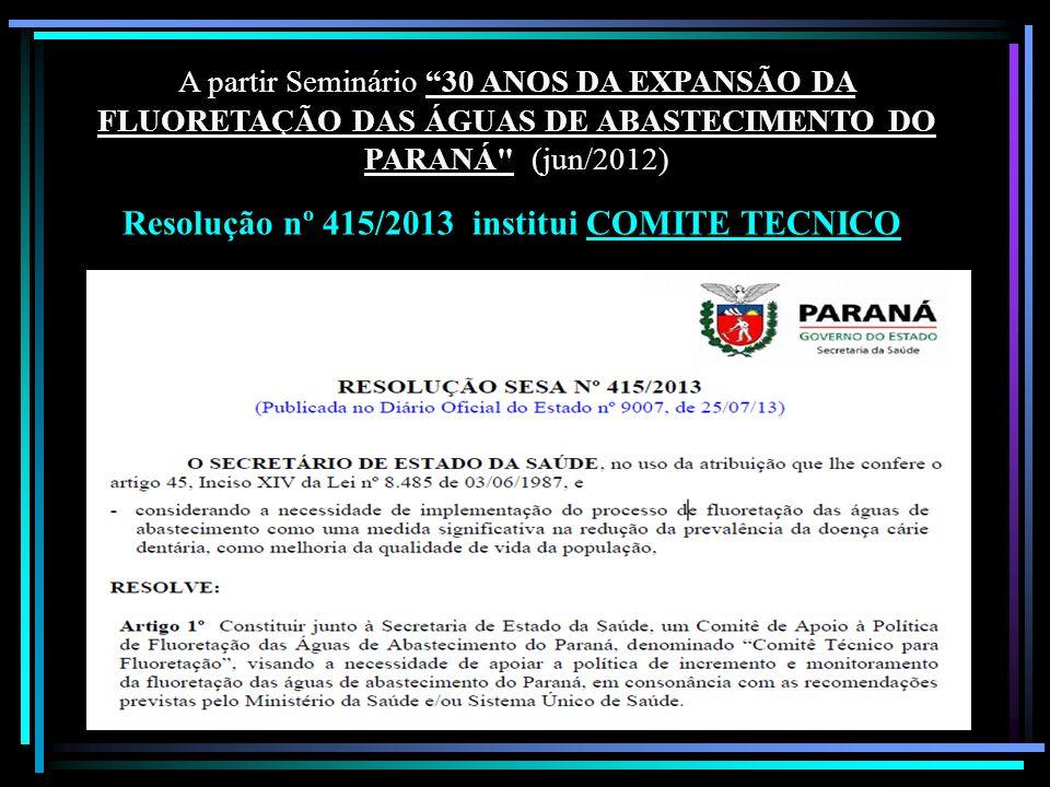 Resolução nº 415/2013 institui COMITE TECNICO