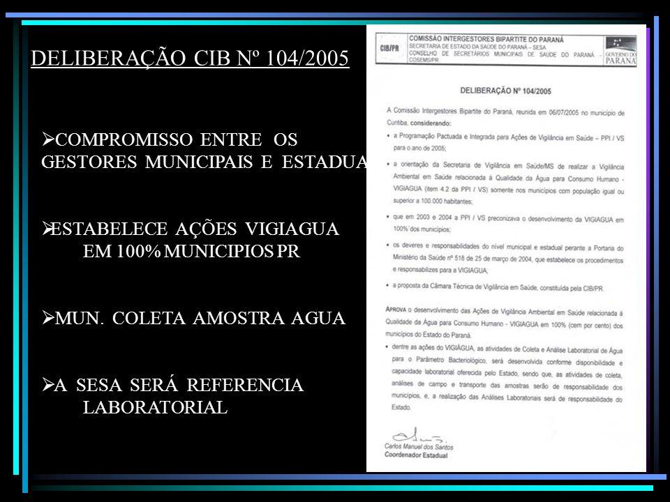 DELIBERAÇÃO CIB Nº 104/2005 COMPROMISSO ENTRE OS GESTORES MUNICIPAIS E ESTADUAL. ESTABELECE AÇÕES VIGIAGUA.
