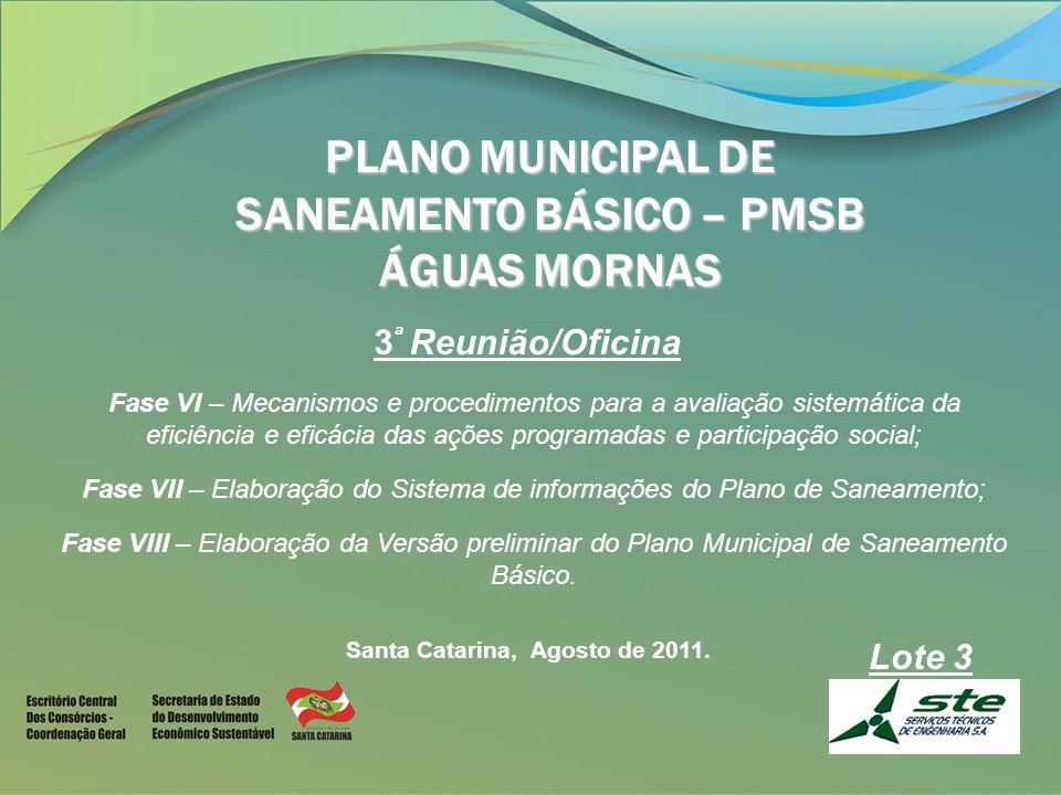 PLANO MUNICIPAL DE SANEAMENTO BÁSICO – PMSB ÁGUAS MORNAS