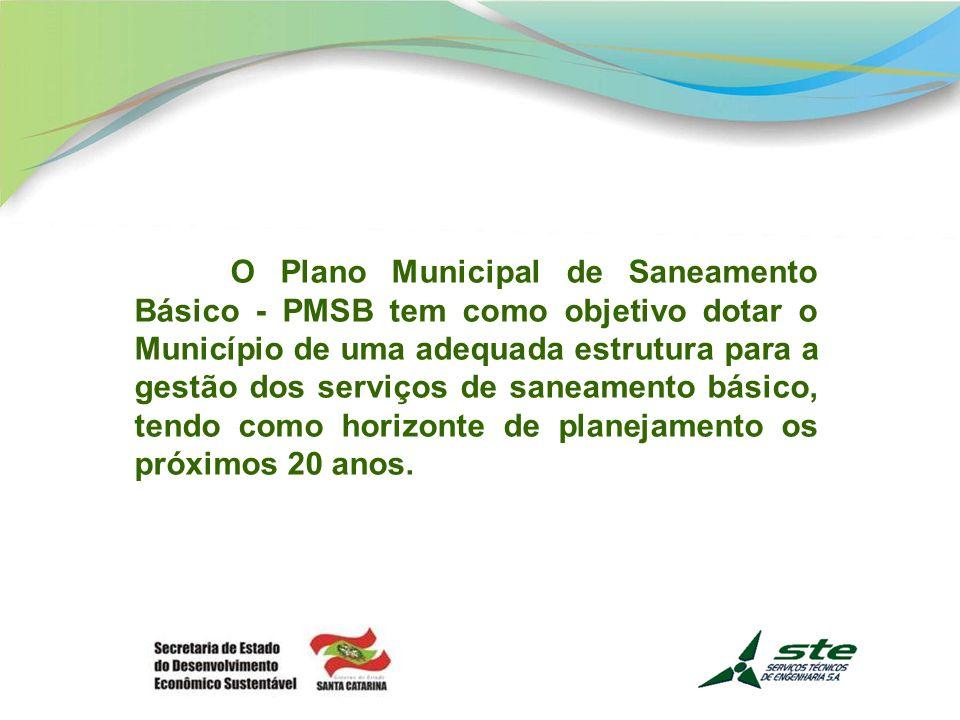 O Plano Municipal de Saneamento Básico - PMSB tem como objetivo dotar o Município de uma adequada estrutura para a gestão dos serviços de saneamento básico, tendo como horizonte de planejamento os próximos 20 anos.