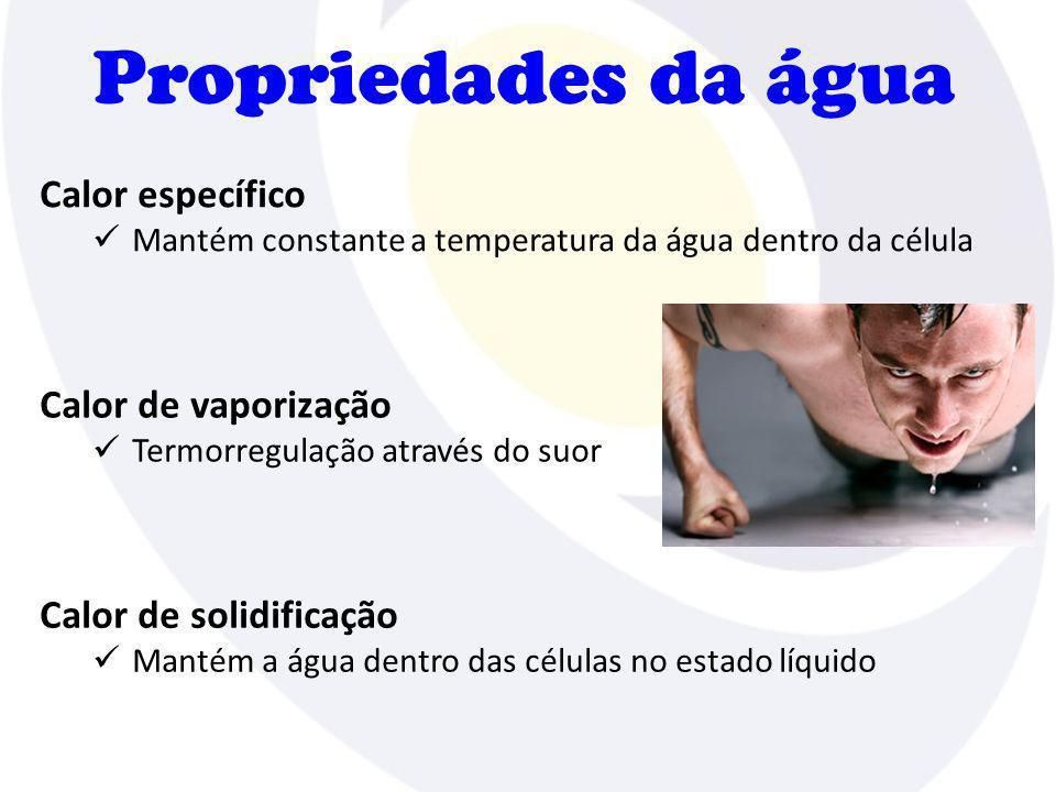 Propriedades da água Calor específico Calor de vaporização