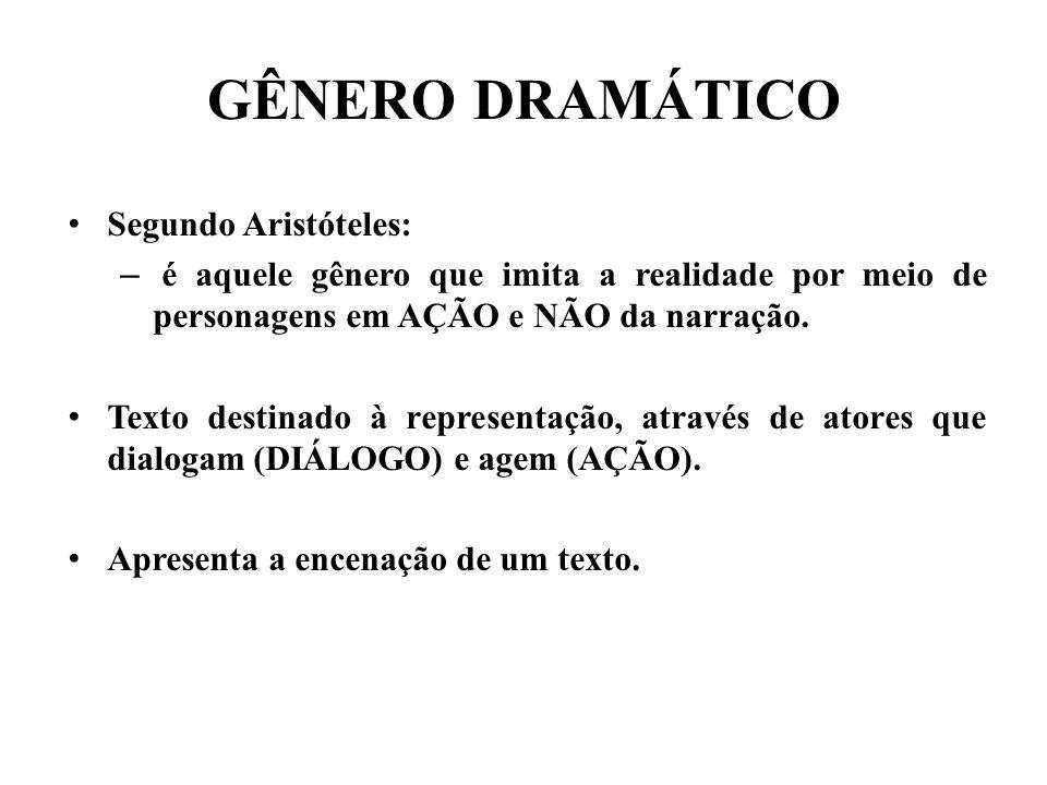 GÊNERO DRAMÁTICO Segundo Aristóteles: