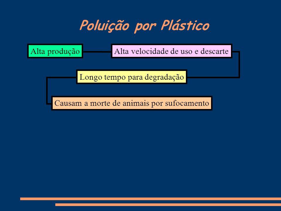 Poluição por Plástico Alta produção Longo tempo para degradação