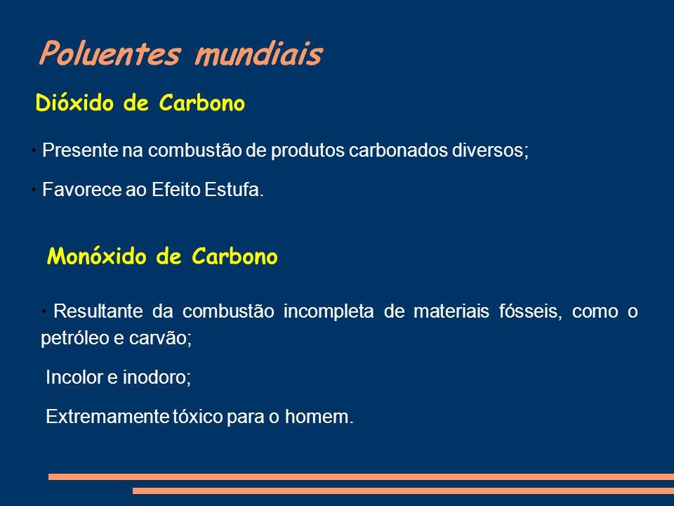 Poluentes mundiais Dióxido de Carbono Monóxido de Carbono