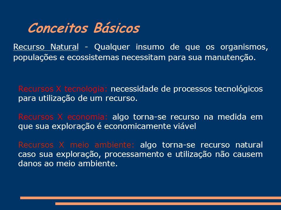 Conceitos Básicos Recurso Natural - Qualquer insumo de que os organismos, populações e ecossistemas necessitam para sua manutenção.