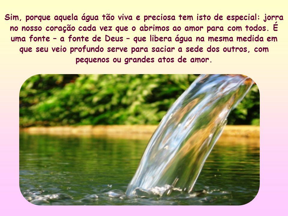Sim, porque aquela água tão viva e preciosa tem isto de especial: jorra no nosso coração cada vez que o abrimos ao amor para com todos.