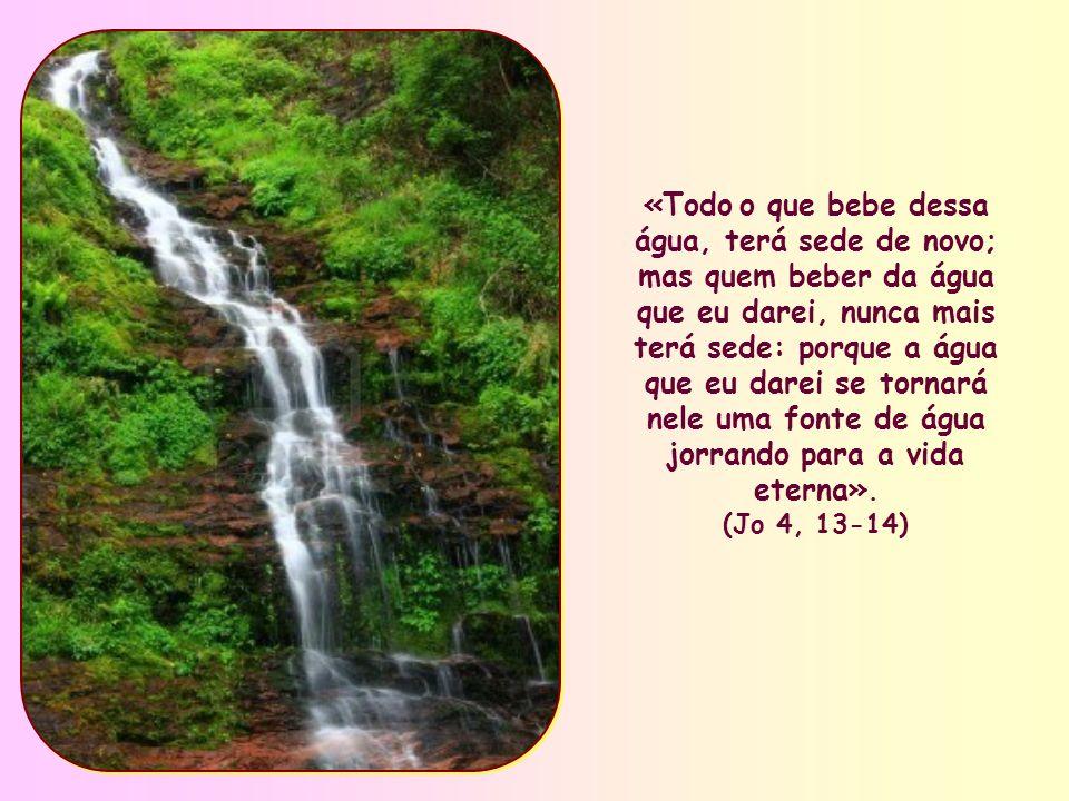 «Todo o que bebe dessa água, terá sede de novo; mas quem beber da água que eu darei, nunca mais terá sede: porque a água que eu darei se tornará nele uma fonte de água jorrando para a vida eterna».