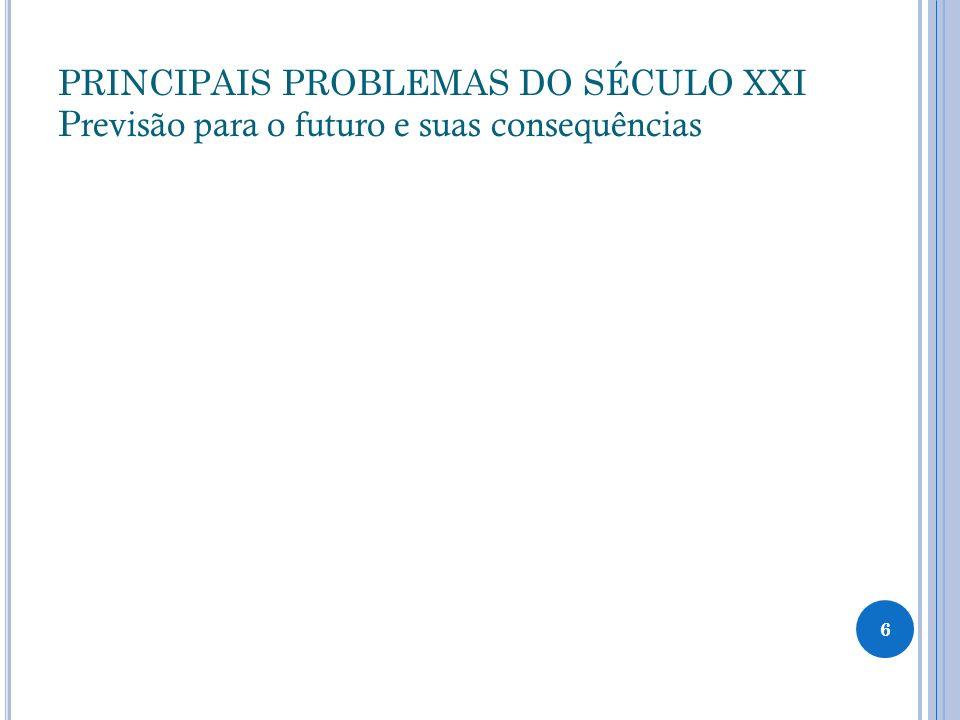 PRINCIPAIS PROBLEMAS DO SÉCULO XXI Previsão para o futuro e suas consequências