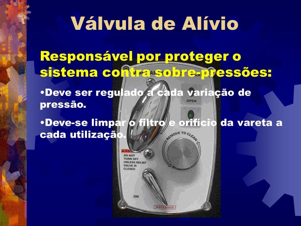 Válvula de Alívio Responsável por proteger o sistema contra sobre-pressões: Deve ser regulado a cada variação de pressão.