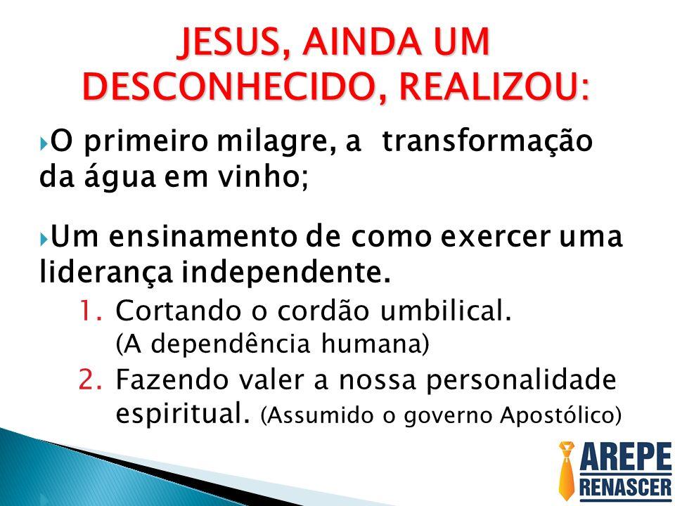 JESUS, AINDA UM DESCONHECIDO, REALIZOU: