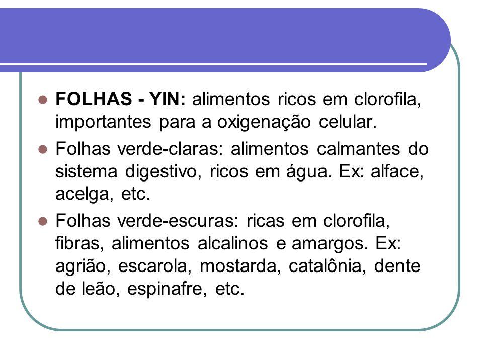 FOLHAS - YIN: alimentos ricos em clorofila, importantes para a oxigenação celular.