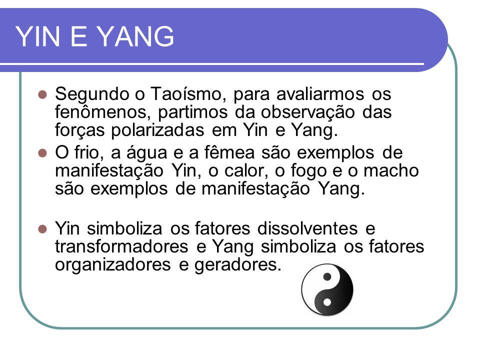YIN E YANG Segundo o Taoísmo, para avaliarmos os fenômenos, partimos da observação das forças polarizadas em Yin e Yang.