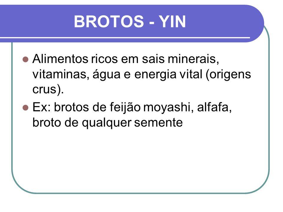 BROTOS - YIN Alimentos ricos em sais minerais, vitaminas, água e energia vital (origens crus).