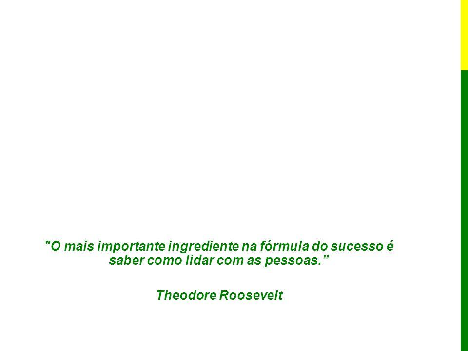 O mais importante ingrediente na fórmula do sucesso é saber como lidar com as pessoas. Theodore Roosevelt