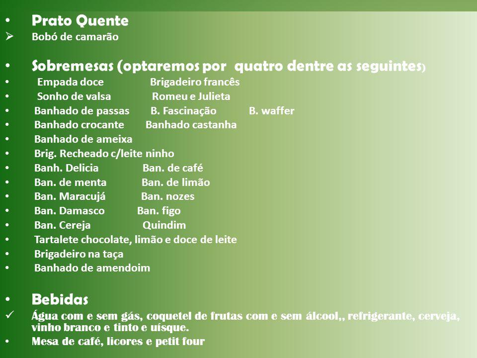 Sobremesas (optaremos por quatro dentre as seguintes)