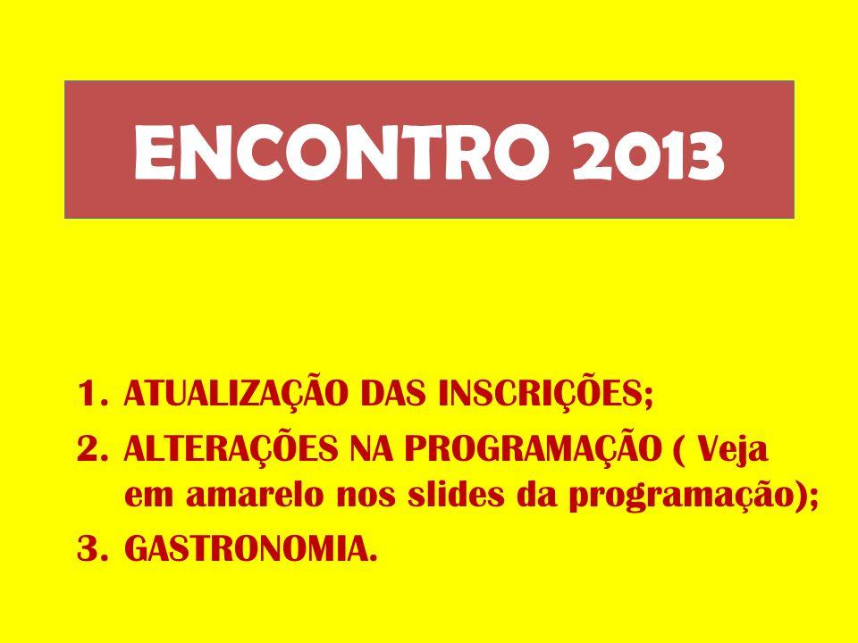 ENCONTRO 2013 ATUALIZAÇÃO DAS INSCRIÇÕES;
