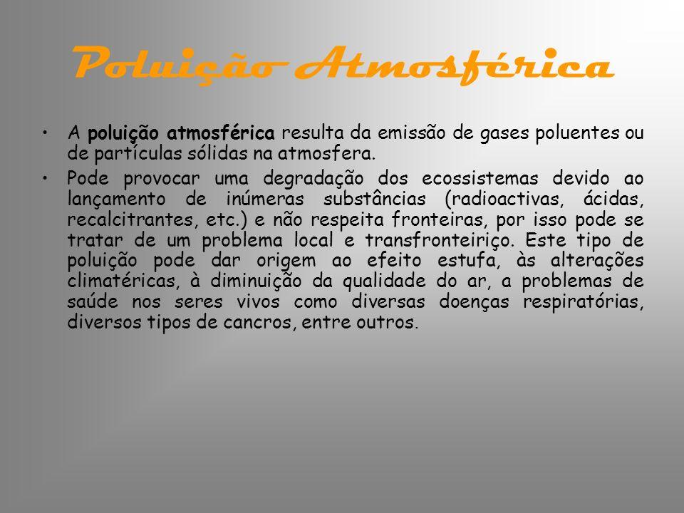 Poluição Atmosférica A poluição atmosférica resulta da emissão de gases poluentes ou de partículas sólidas na atmosfera.