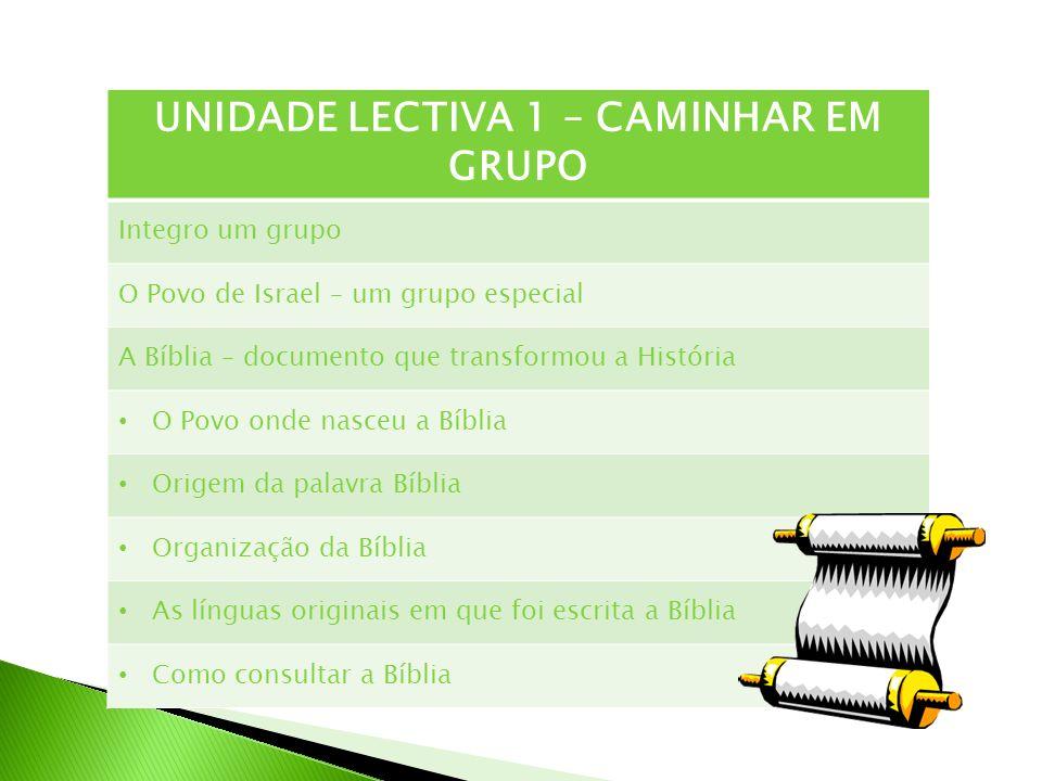 UNIDADE LECTIVA 1 – CAMINHAR EM GRUPO