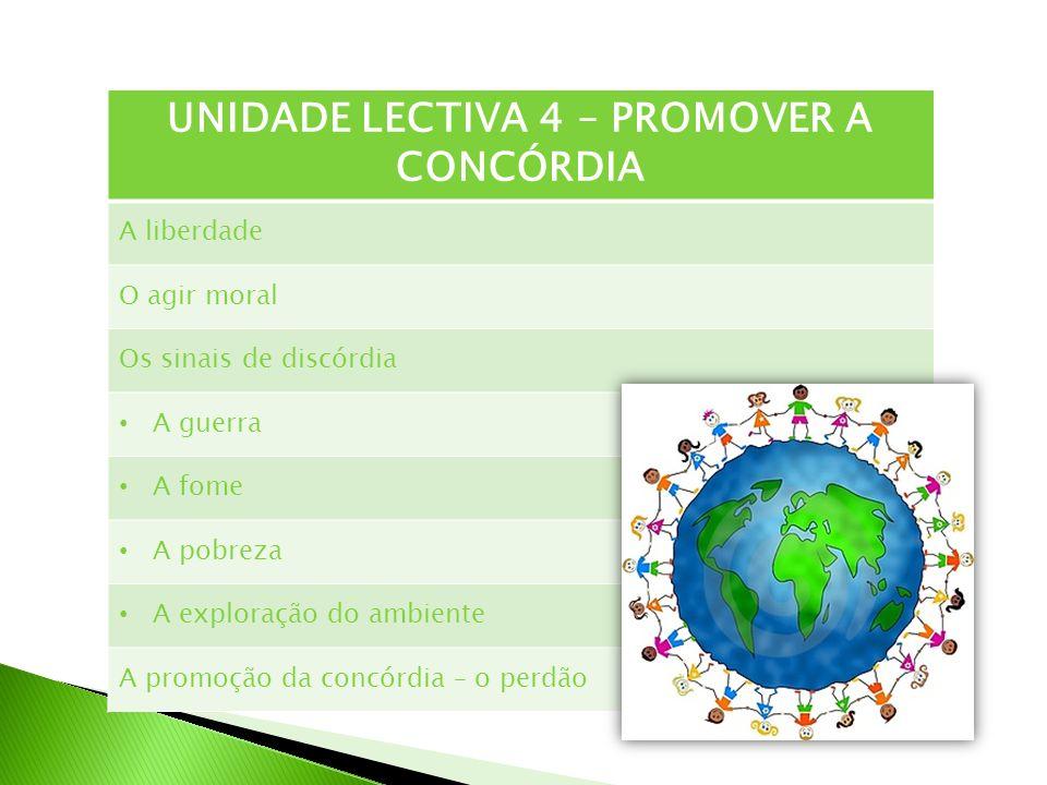 UNIDADE LECTIVA 4 – PROMOVER A CONCÓRDIA
