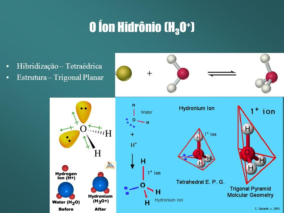 O Íon Hidrônio (H3O+) Hibridização – Tetraédrica