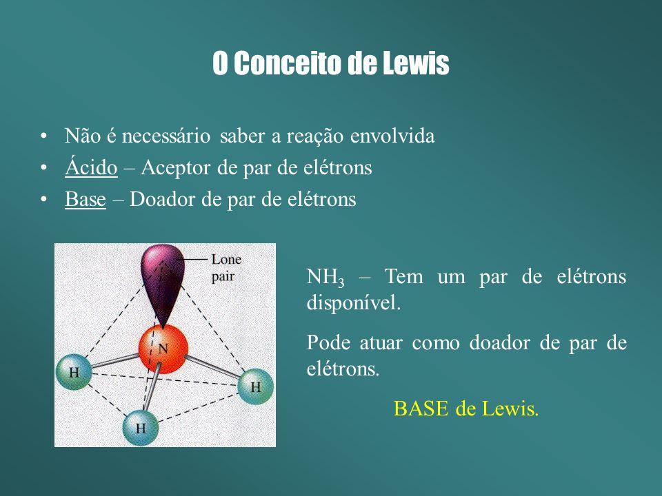 O Conceito de Lewis Não é necessário saber a reação envolvida