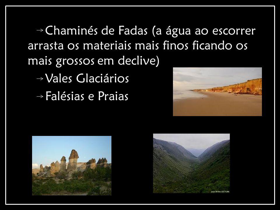 Chaminés de Fadas (a água ao escorrer arrasta os materiais mais finos ficando os mais grossos em declive)