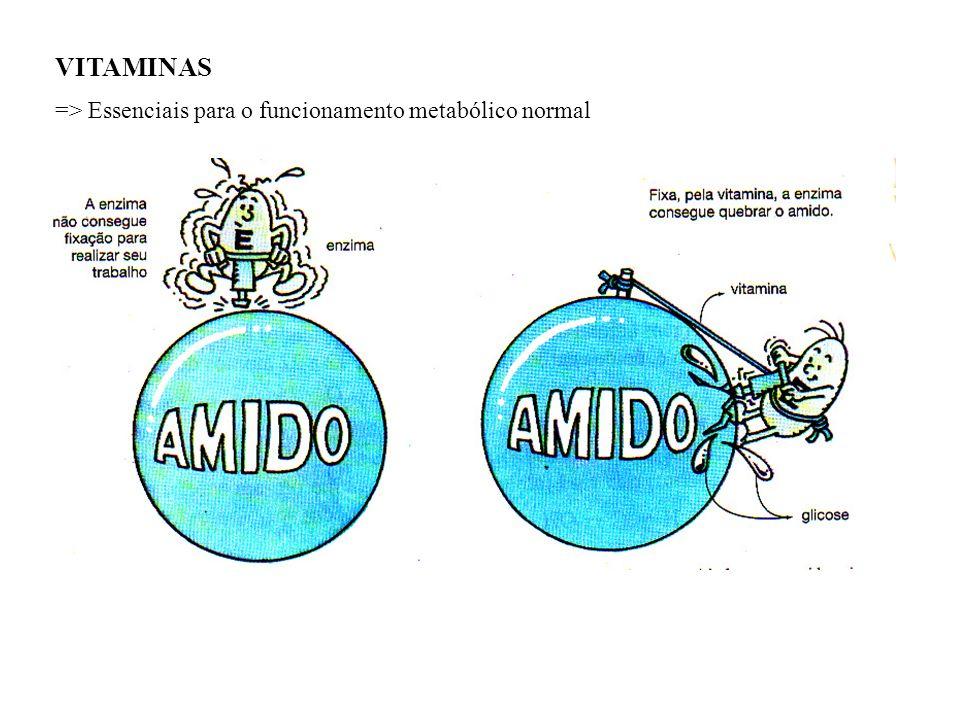 VITAMINAS => Essenciais para o funcionamento metabólico normal