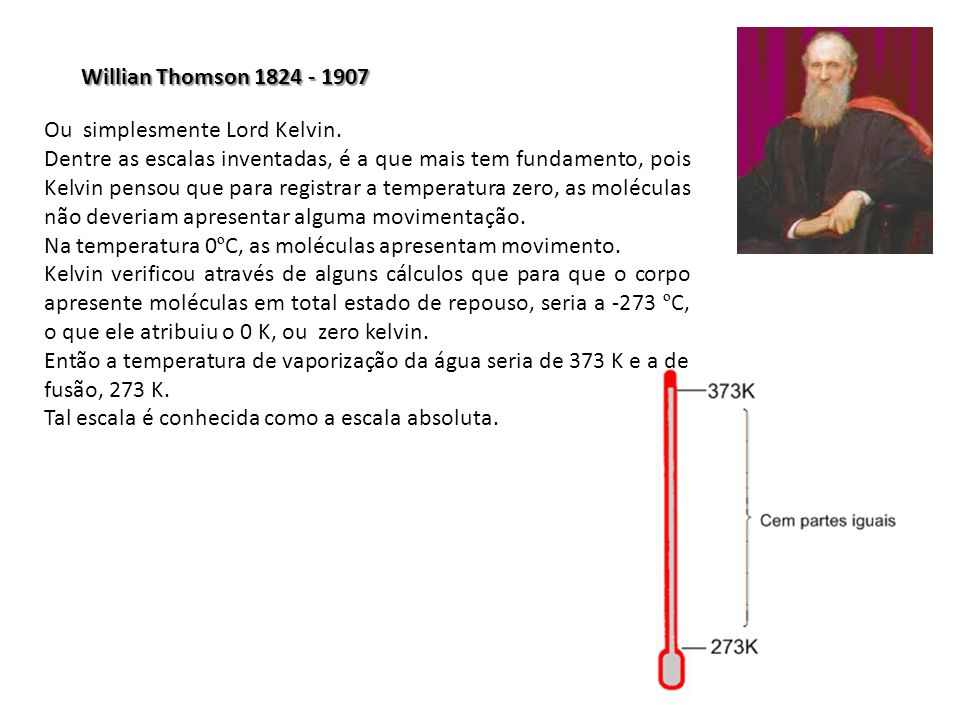 Willian Thomson 1824 - 1907 Ou simplesmente Lord Kelvin.