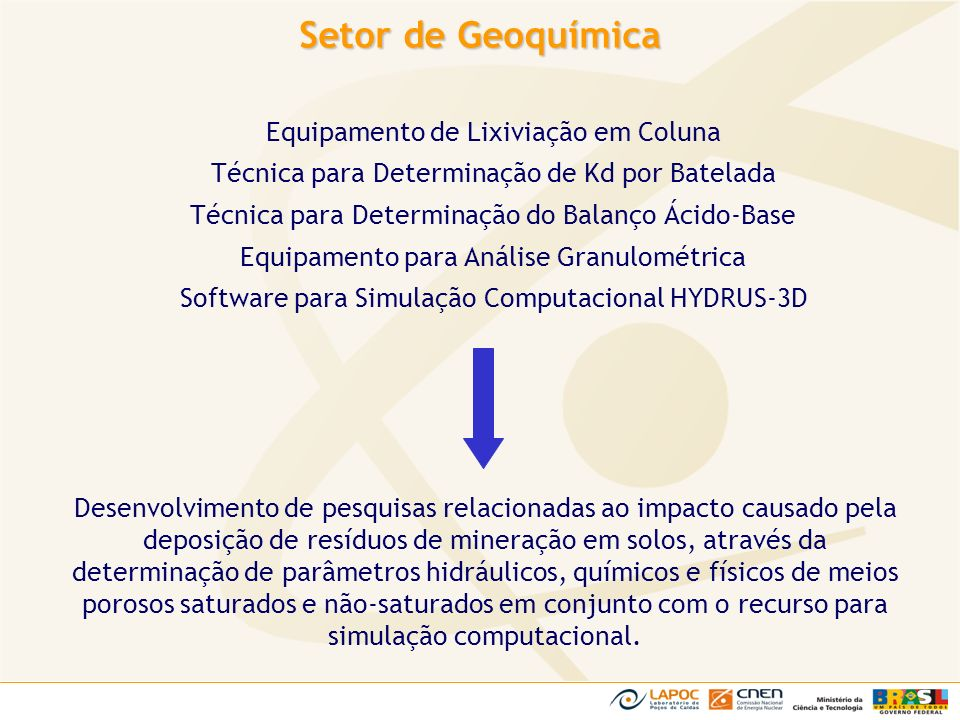 Setor de Geoquímica Equipamento de Lixiviação em Coluna