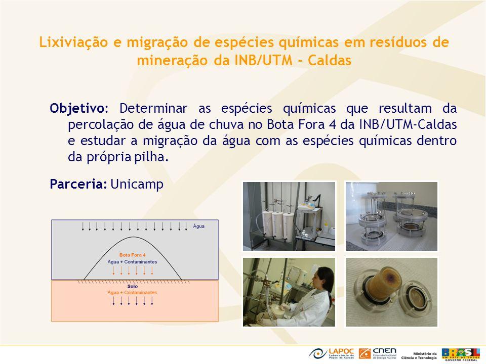 Lixiviação e migração de espécies químicas em resíduos de mineração da INB/UTM - Caldas